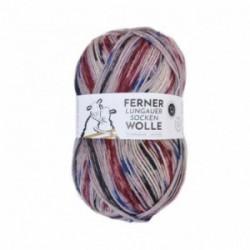 Ferner Lungauer Sockenwolle 6fach - 469/21 rot mit blau