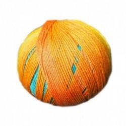 Ferner Lungauer Sockenwolle Seide - 331X20 türkis-orange